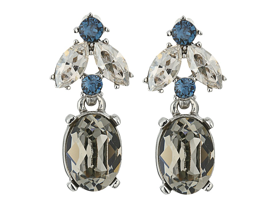 Oscar de la Renta - Floral Navette Small Drop P Earrings (Black Diamond) Earring