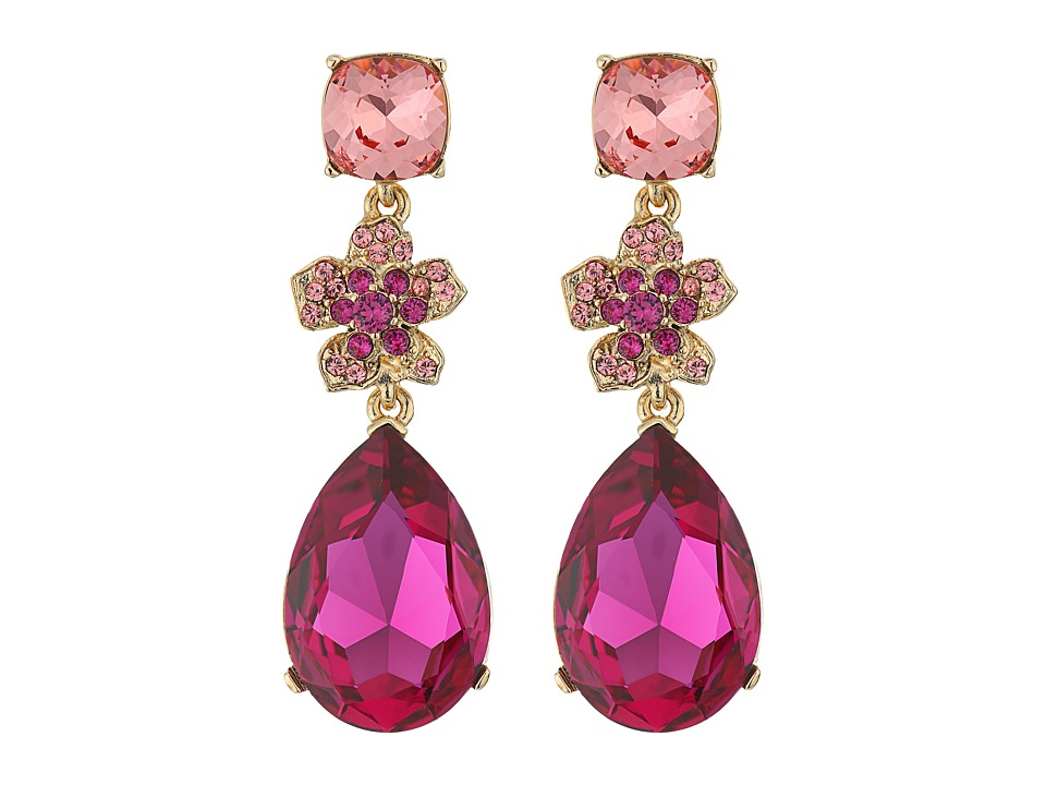 Oscar de la Renta - Flower Drop Pave P Earrings (Fuchsia) Earring