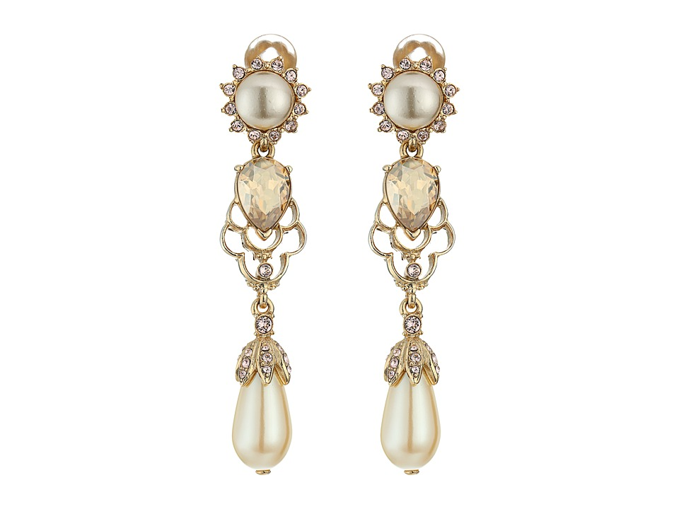 Oscar de la Renta - Crystal and Pearl Drop C Earrings (Cry Gold Shadow) Earring