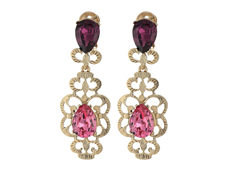 Oscar de la Renta - Bold Crystal Filigree C Earrings (Dusty Rose) Earring