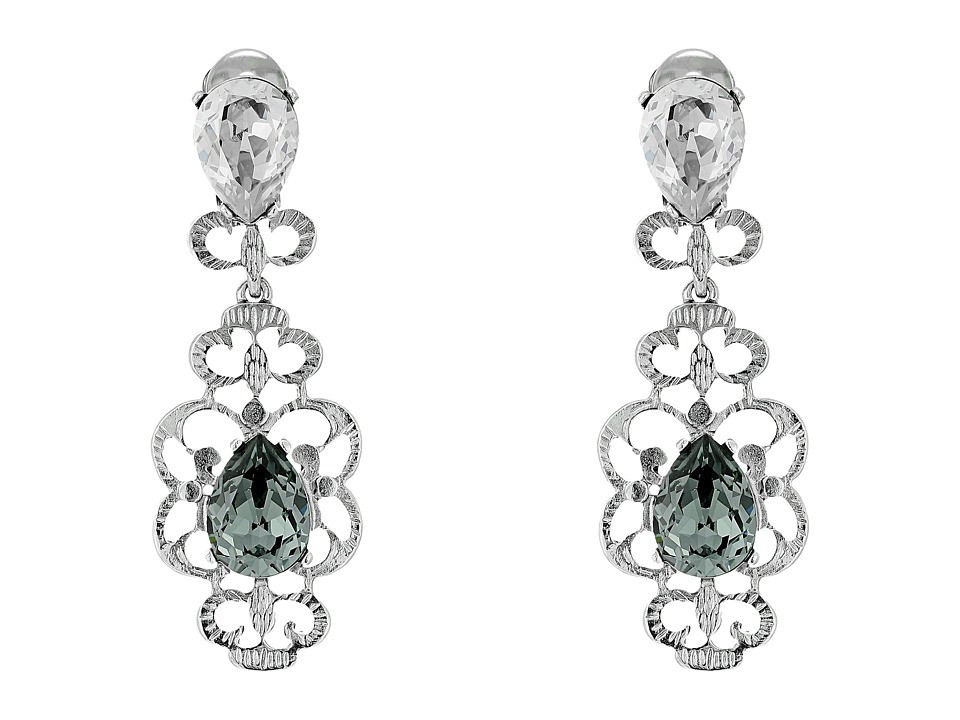 Oscar de la Renta - Bold Crystal Filigree C Earrings (Black Diamond) Earring