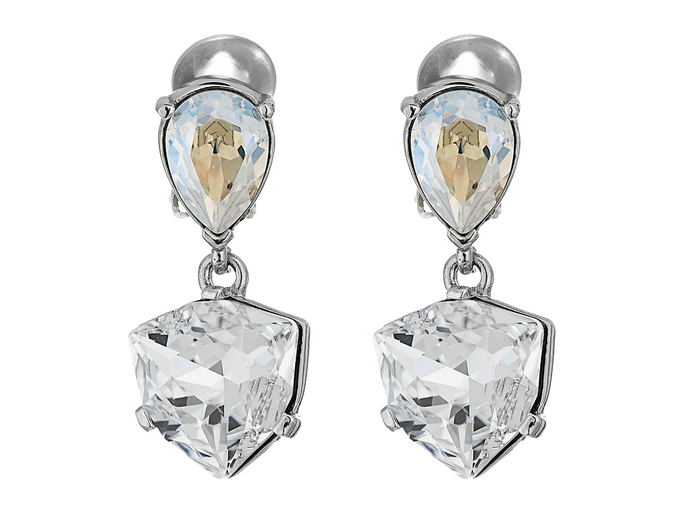 Oscar de la Renta - Shield Crystal Drop C Earrings (Crystal) Earring