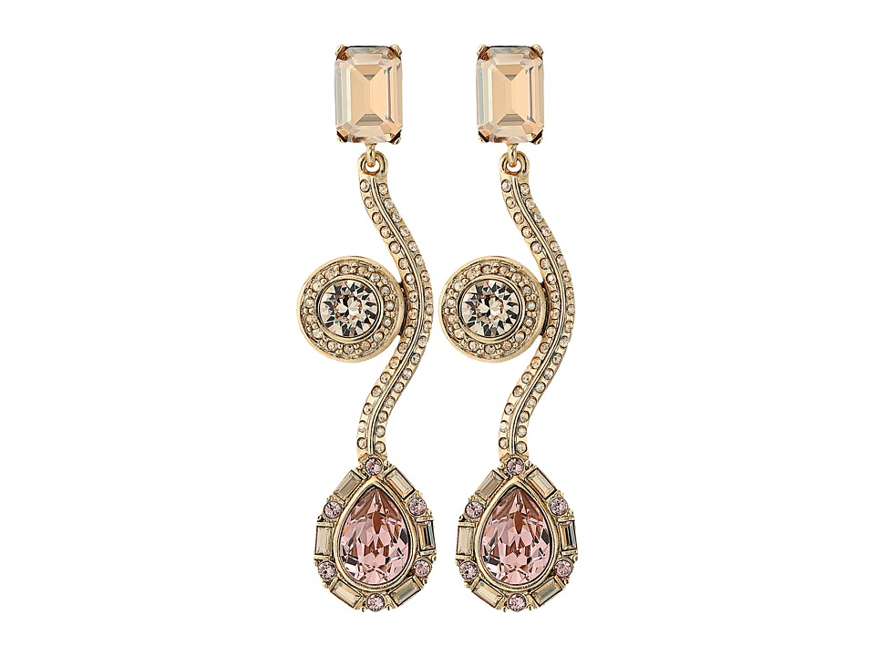 Oscar de la Renta - Geometric Crystal Curve C Earrings (Cry Gold Shadow) Earring