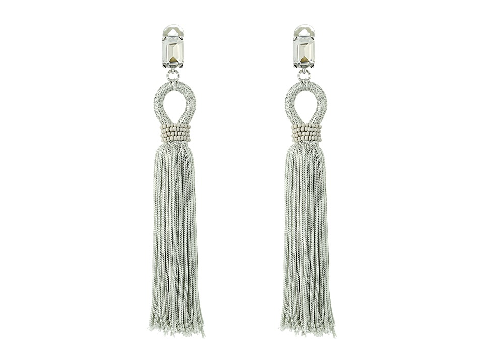 Oscar de la Renta - Long Silk Tassel C Earrings (Oyster) Earring