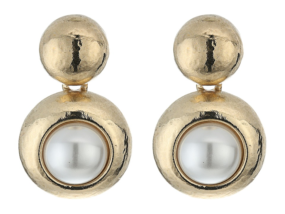 Oscar de la Renta - Pearl C Earrings (Light Gold) Earring