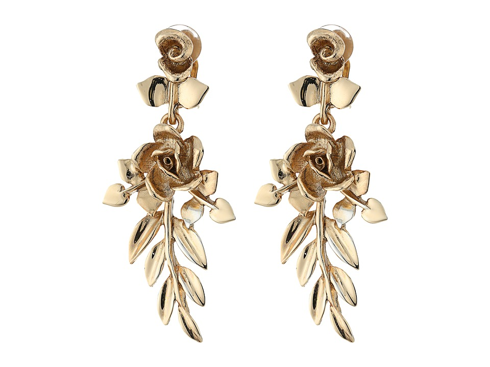 Oscar de la Renta - Rose and Leaf Vine C Earrings (Light Gold) Earring