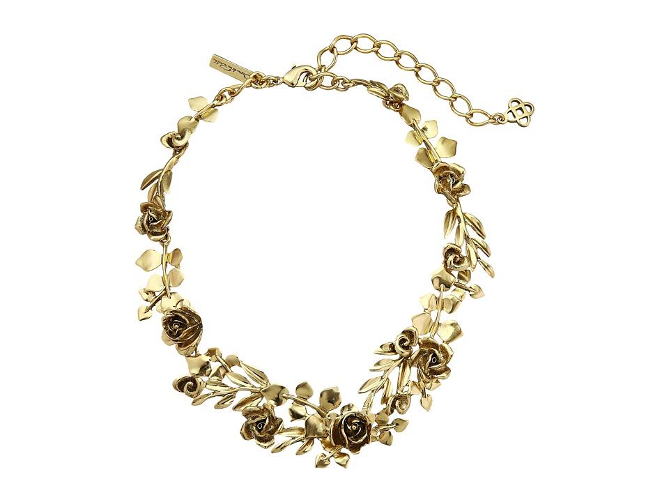 Oscar de la Renta - Rose and Leaf Vine Necklace (Light Gold) Necklace