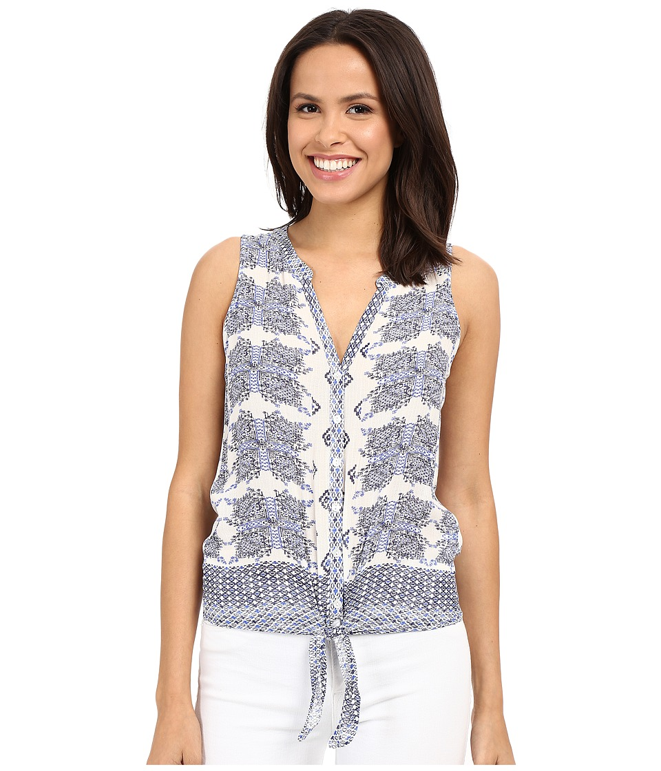 Lucky Brand - Tie Front Woven Top (Navy Multi) Women's Blouse