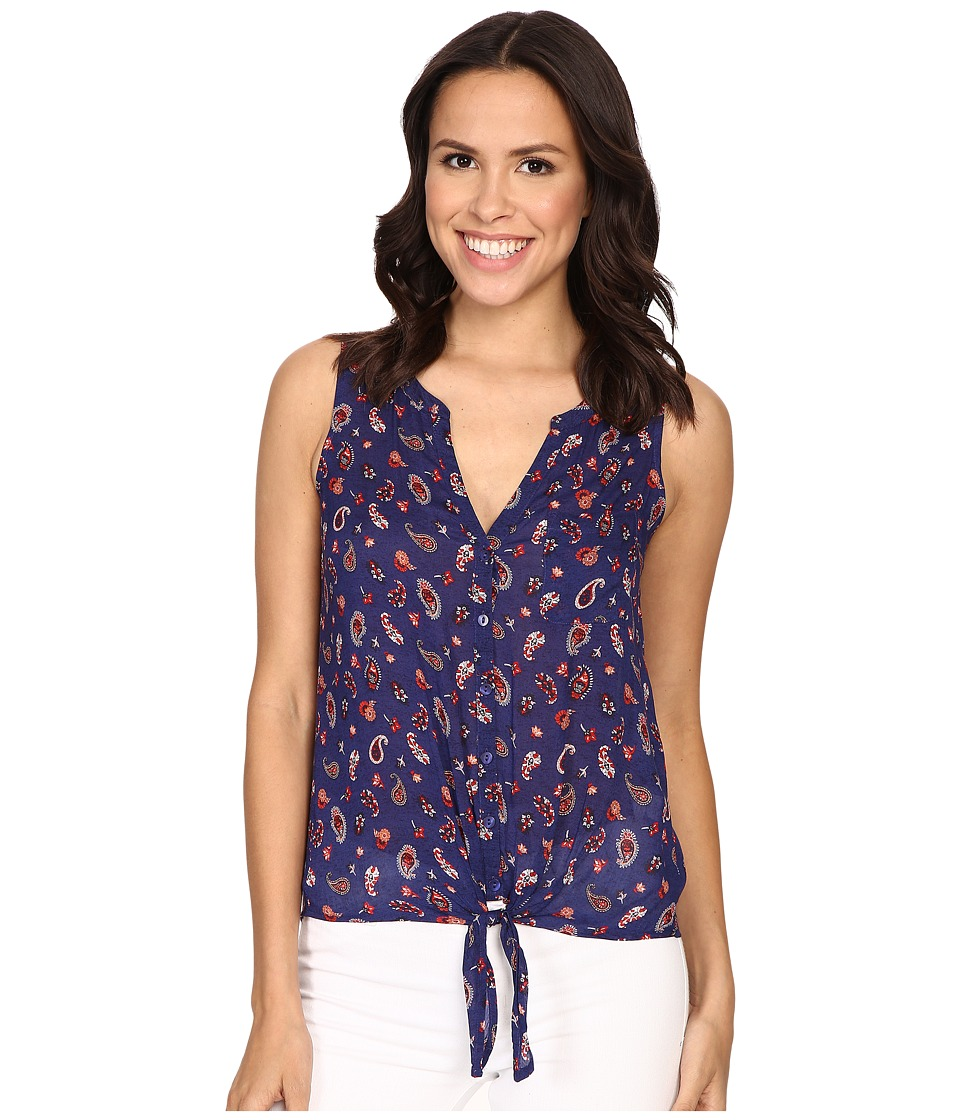 Lucky Brand - Tie Front Woven Top (Blue Multi) Women's Clothing