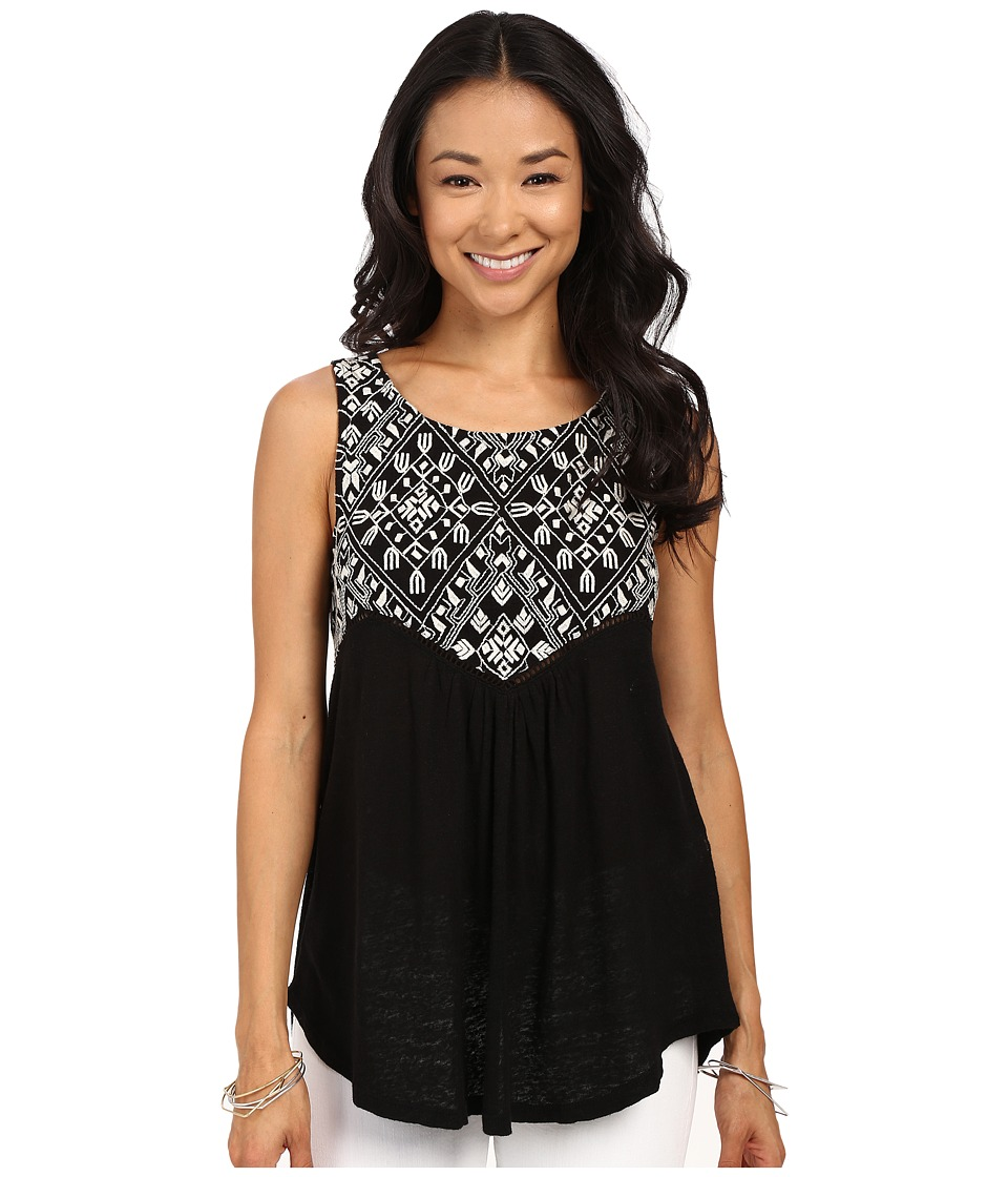 Lucky Brand - Embroidered Shell Top (Lucky Black) Women's Clothing
