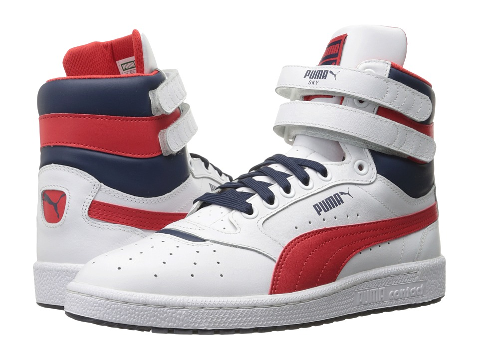 PUMA - Sky II Hi FG (Puma White/High Risk Red/Peacoat) Men's Basketball Shoes
