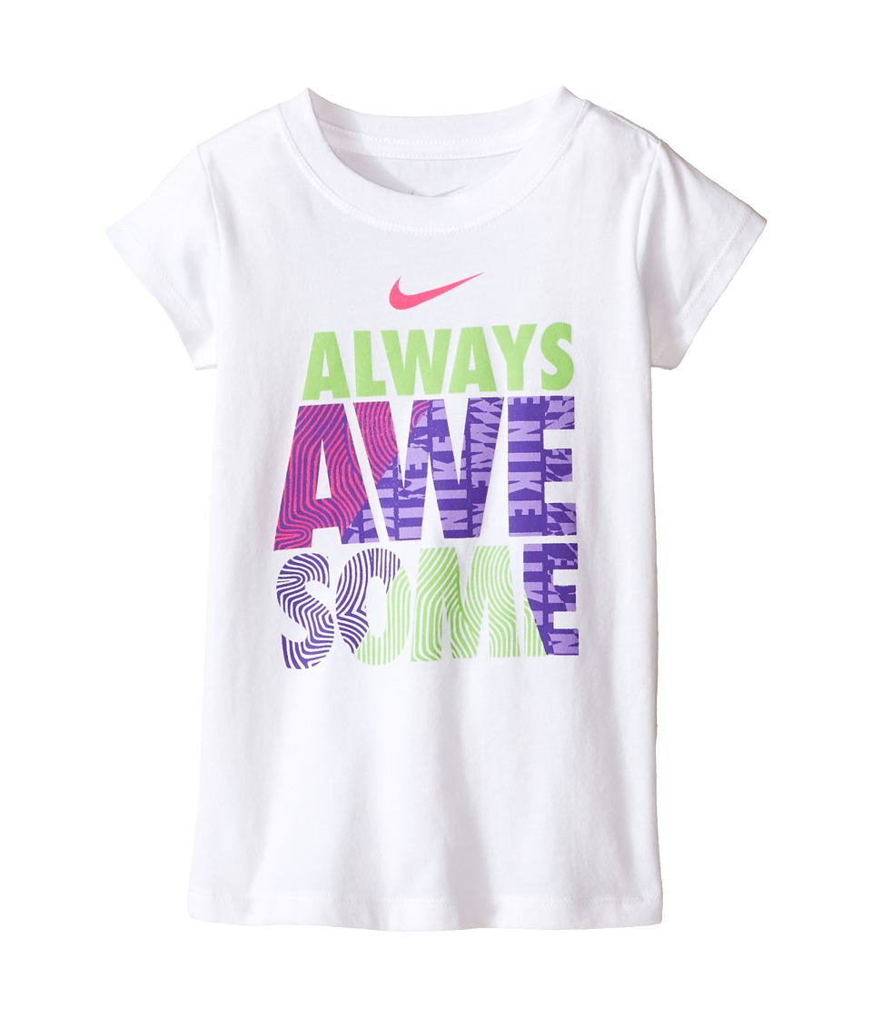 Nike Kids - A895 Awesome Short Sleeve Tee (Toddler) (White) Girl's T Shirt