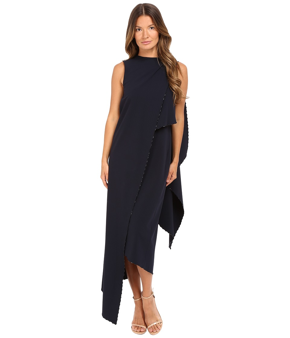 Zac Posen Stretch Cady Asymmetrical Sleeveless Dress (Navy) Women