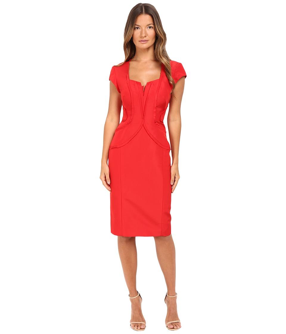 Zac Posen Silk Faille Cap Sleeve Dress (Grenadine) Women