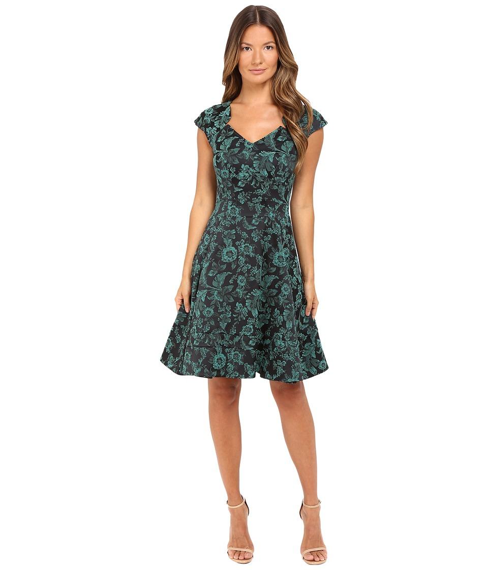 Zac Posen Party Jacquard Dress (Teal Midnight 302) Women