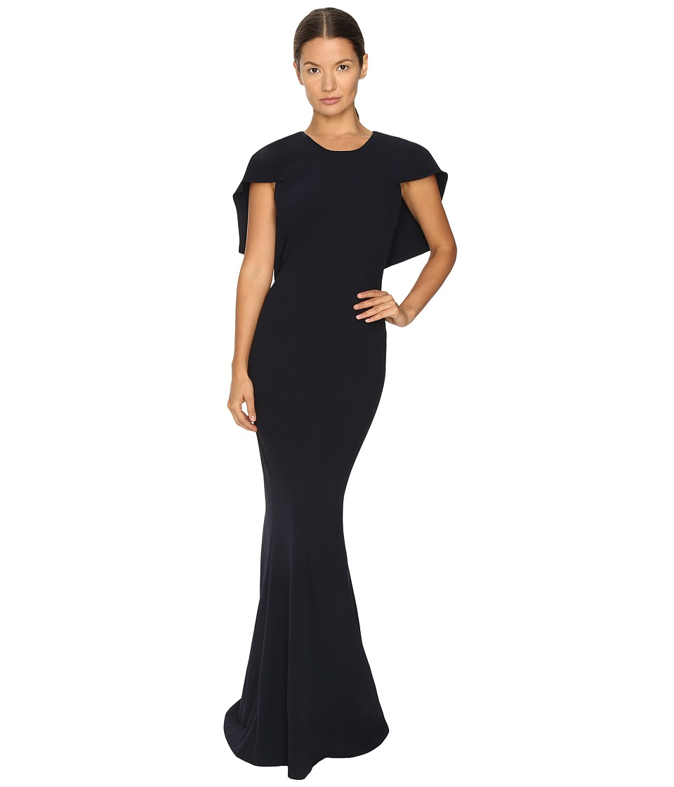 Zac Posen Stretch Cady Capelet Gown Navy Dress