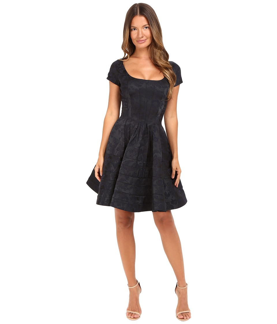 Zac Posen Party Jacquard Cap Sleeve Scoop Neck Dress (Midnight Violet) Women