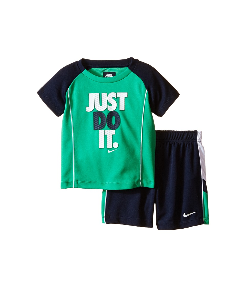 Nike Kids - Just Do It Raglan Short Sleeve Shorts Set (Infant) (Obsidian) Boy's Active Sets