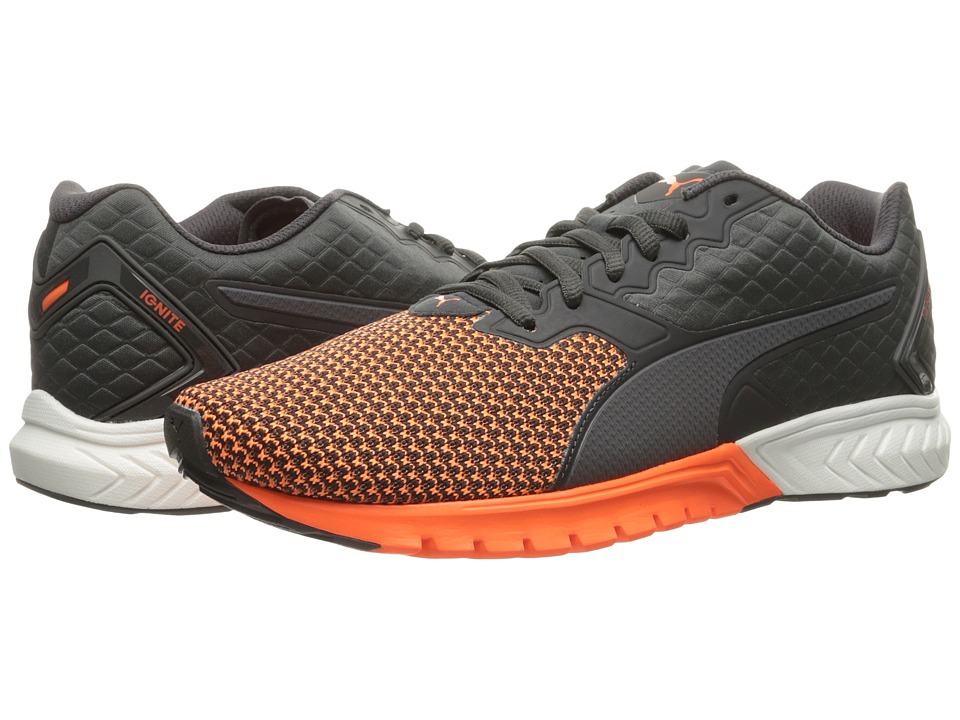 PUMA - Ignite Dual Nylon (Asphalt/Shocking Orange) Men's Running Shoes