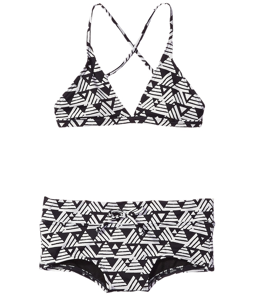 Billabong Kids - Geo Delight Triangle Set (Little Kids/Big Kids) (Black Sands) Girl's Swimwear Sets