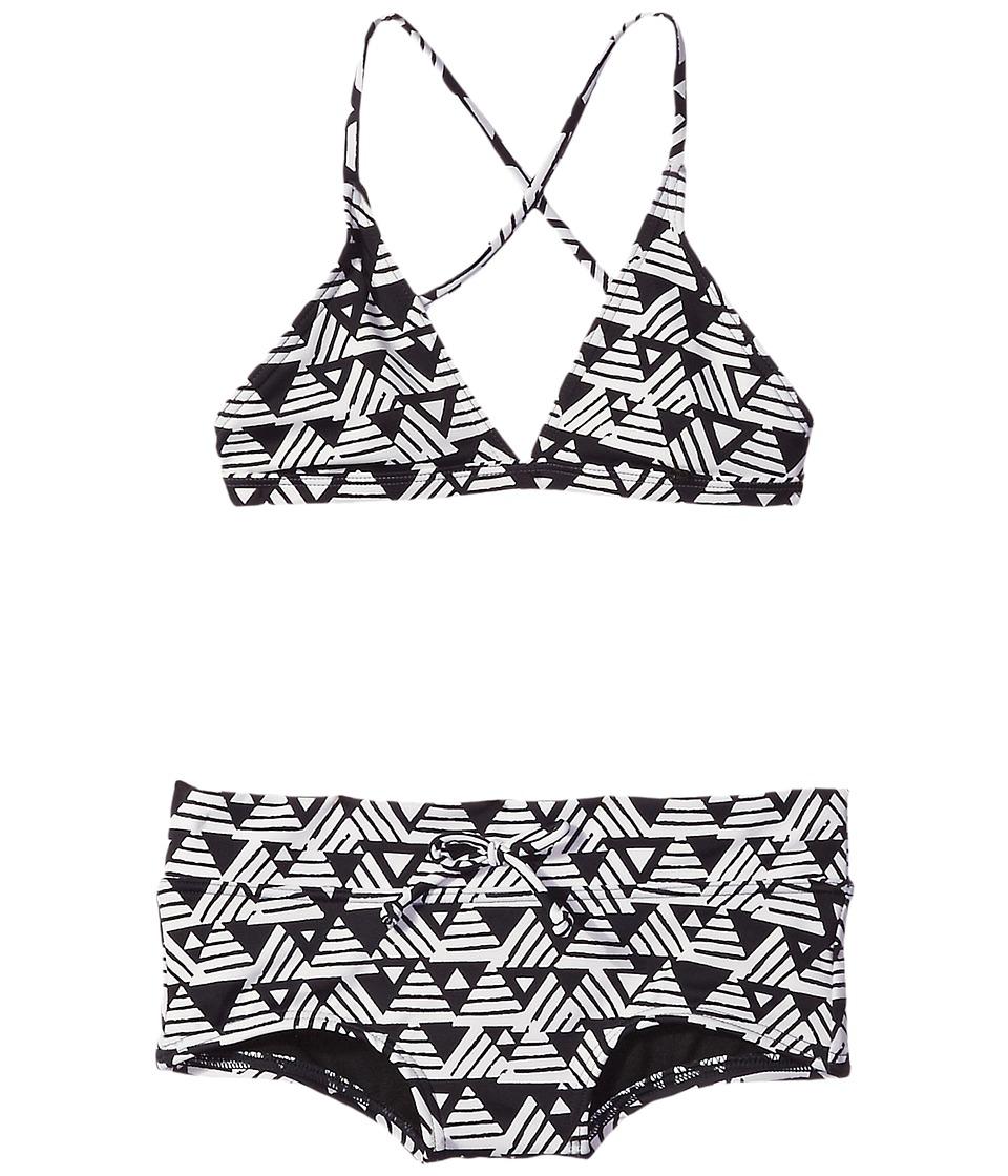 Billabong Kids - Geo Delight Triangle Set (Little Kids/Big Kids) (Black Sands) Girl's Swimwear Sets