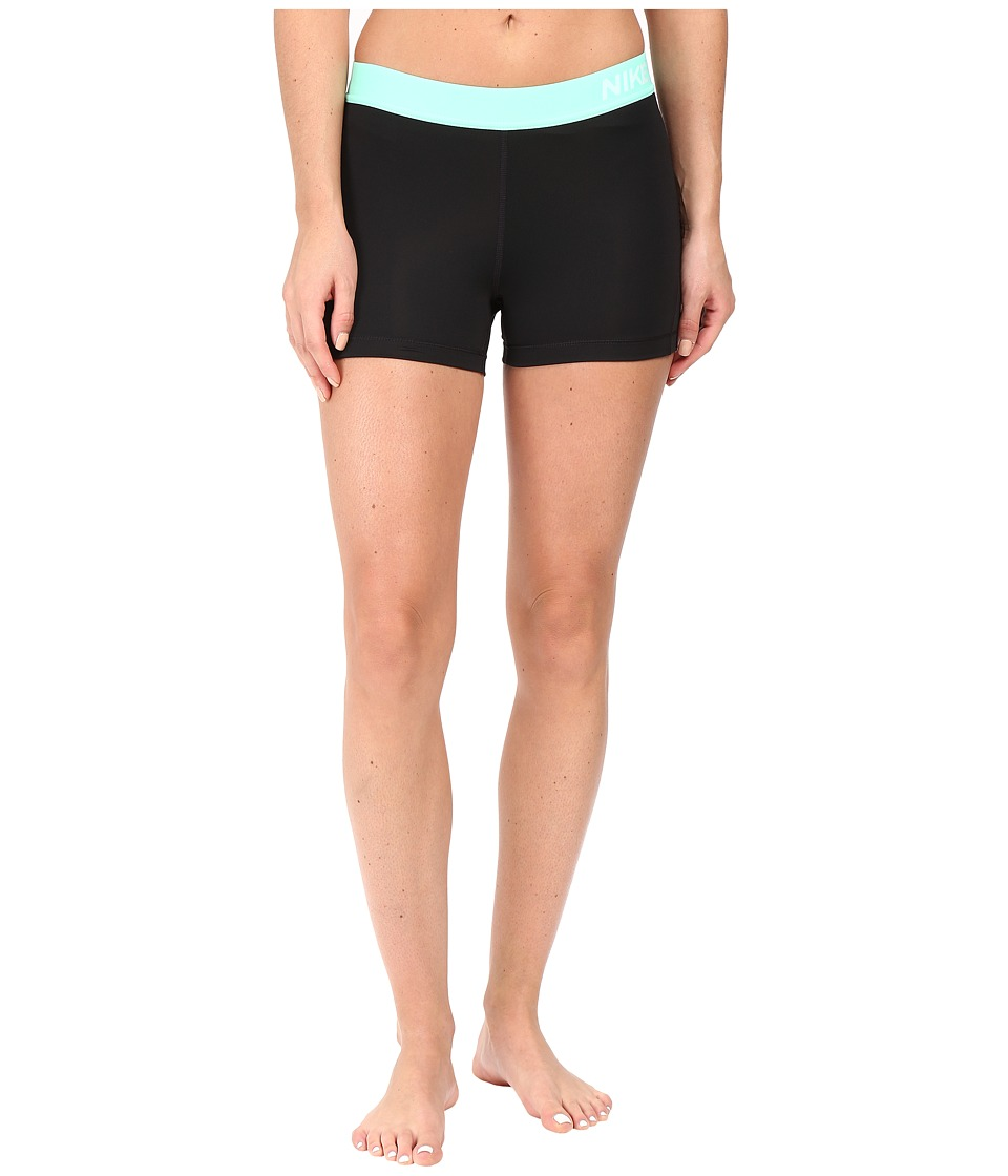Nike Pro 3 Cool Compression Training Short (Black/Green Glow/White) Women