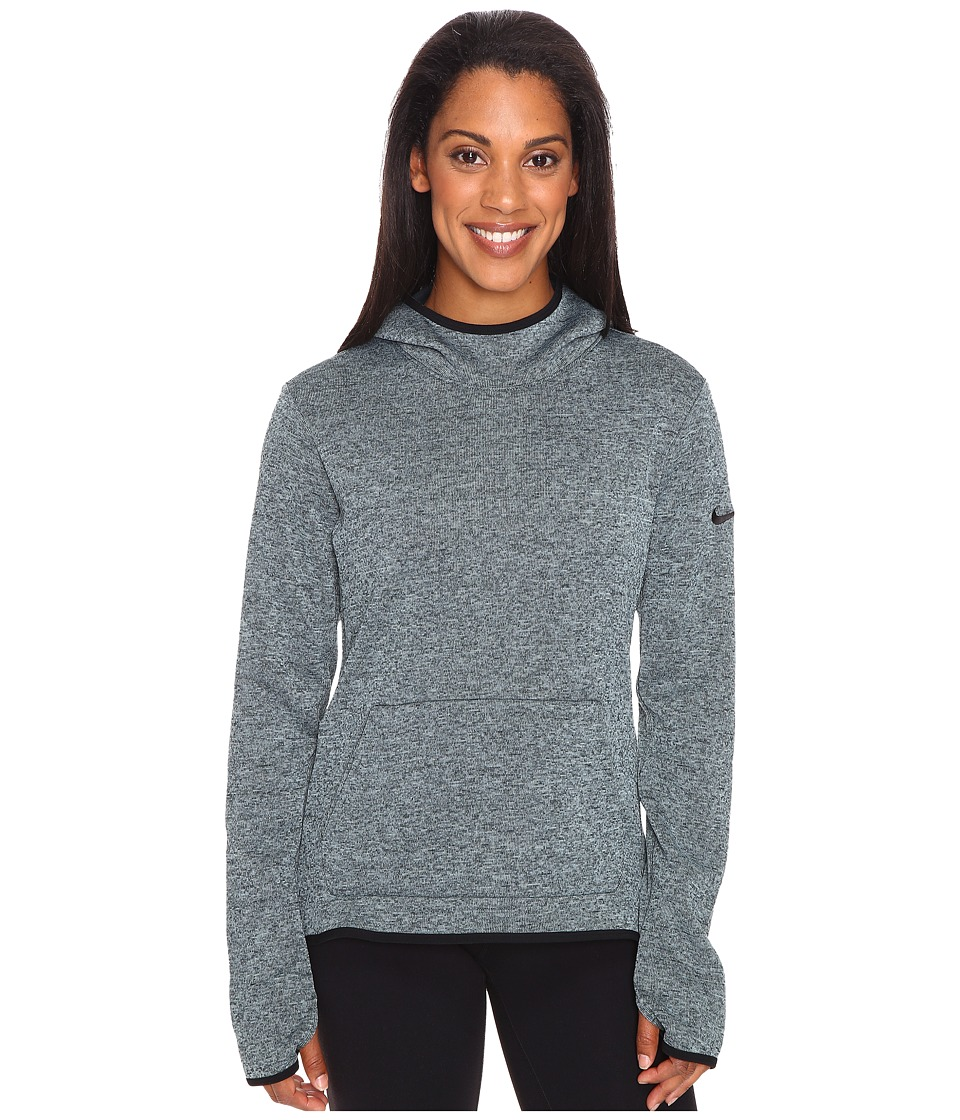 Nike - Therma Pullover Hoodie (Seaweed/Heather/Black/Black) Women's Sweatshirt
