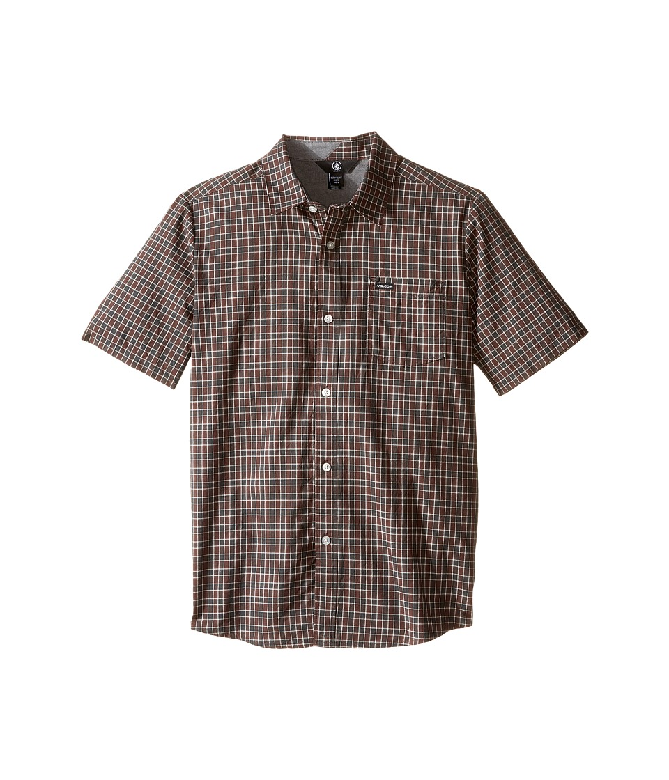 Volcom Kids - Arthur Short Sleeve Top (Big Kids) (Plum) Boy's Short Sleeve Button Up