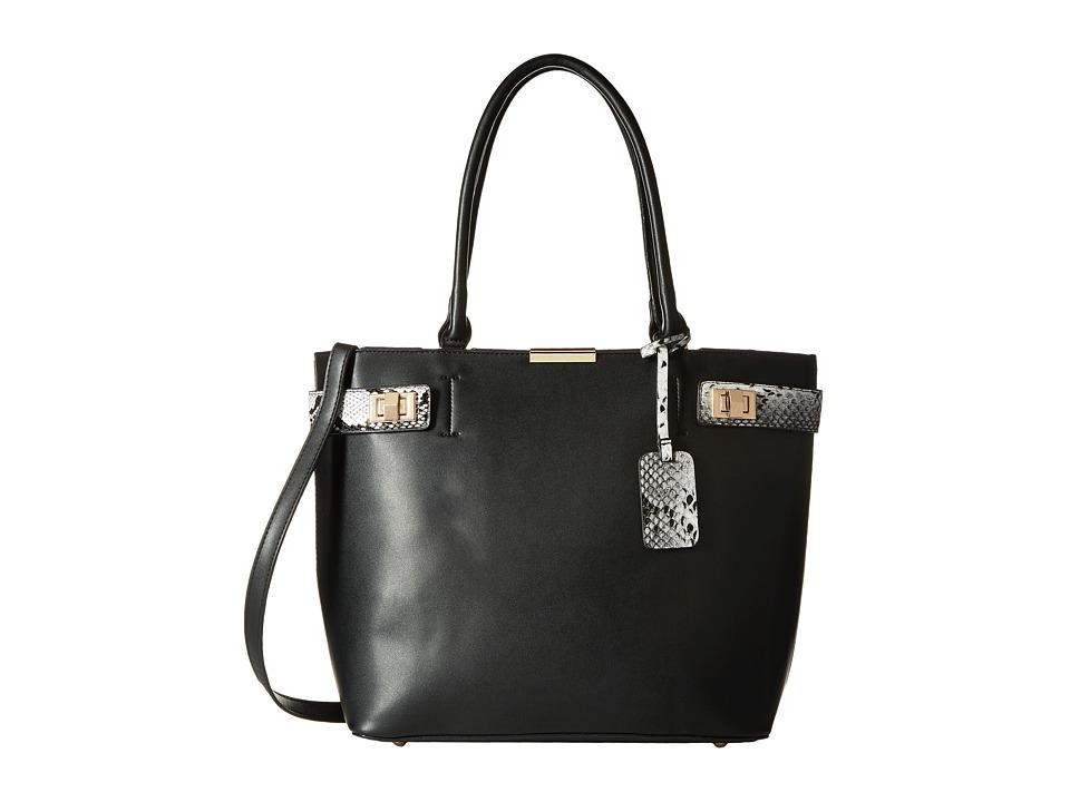 Gabriella Rocha - Tabitha Satchel with Snake Detail (Black) Satchel Handbags