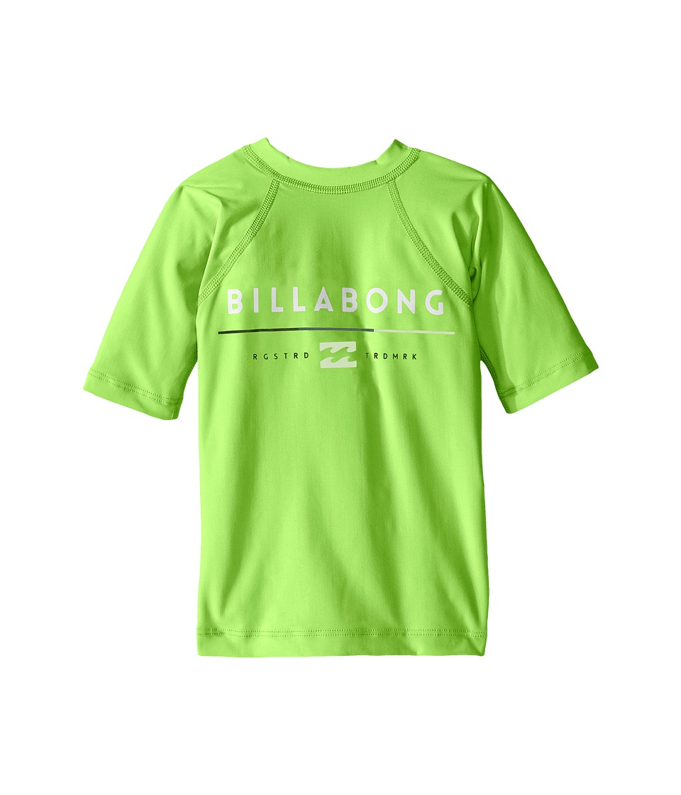 Billabong Kids - All Day Short Sleeve Rashguard (Toddler/Little Kids/Big Kids) (Neon Green) Boy's Swimwear