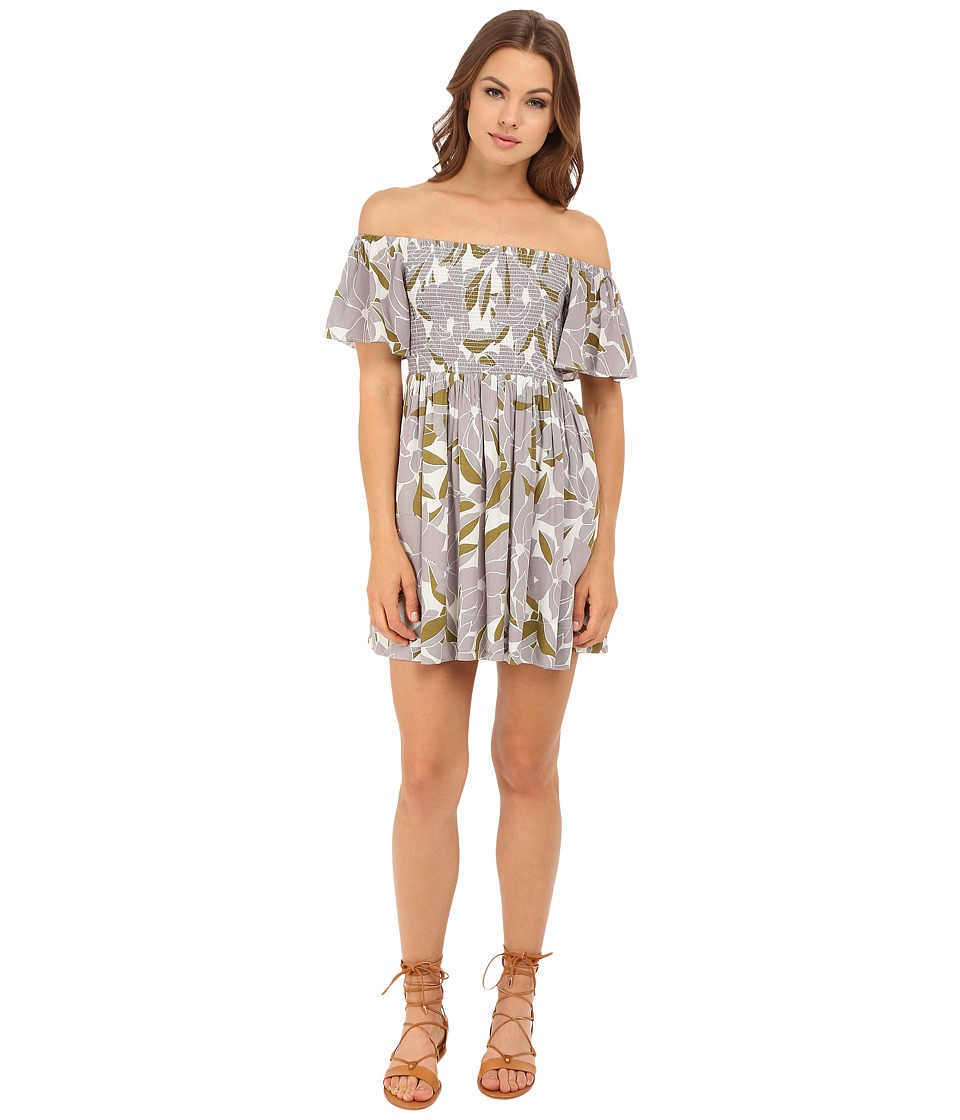 Free People - Louise Printed Smocked Dress (Neutral Combo) Women's Dress