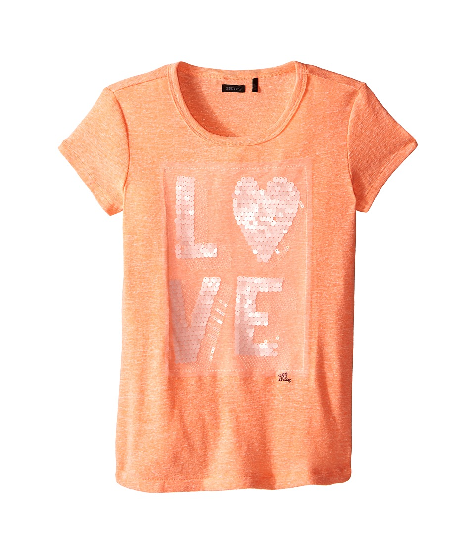 IKKS - Heathered Cotton T-Shirt with Sequined Love on Front (Little Kids/Big Kids) (Coral) Girl's T Shirt