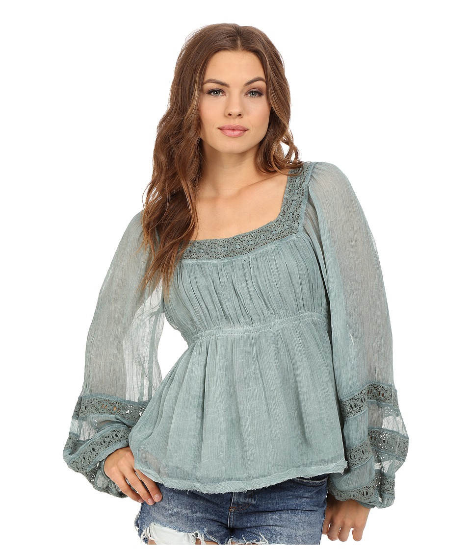 Free People - Moonchaser Peasant Top (Blue) Women's Blouse