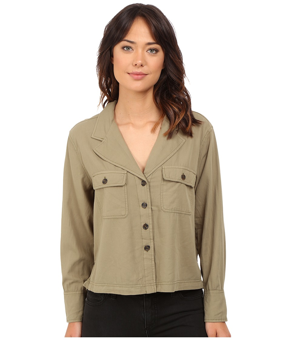 Free People - Carolina Shirt (Dark Green) Women's Long Sleeve Button Up