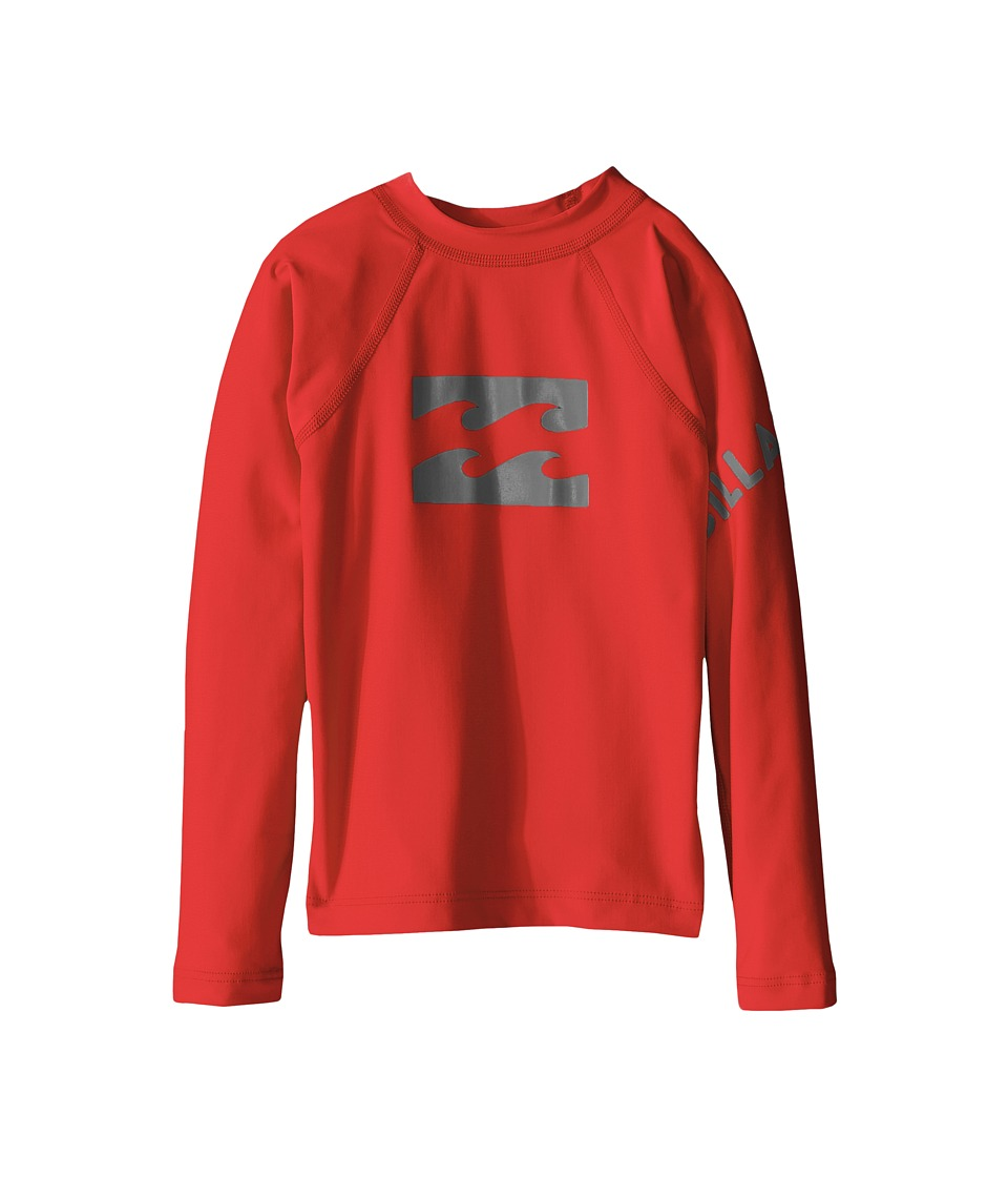 Billabong Kids - Team Wave Long Sleeve Rashguard ( Toddler/Little Kids/Big Kids) (Red) Boy's Swimwear
