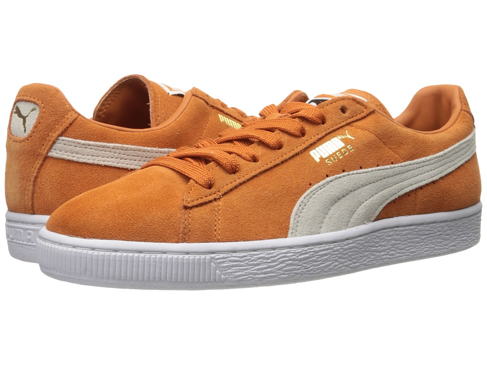 PUMA Suede Classic + Burnt Orange-Puma White Mens Shoes