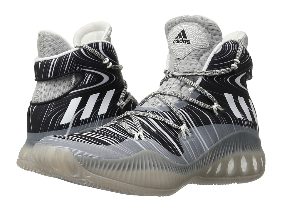 adidas - Crazy Explosive (MGH Solid Grey/White/Black) Men's Basketball Shoes