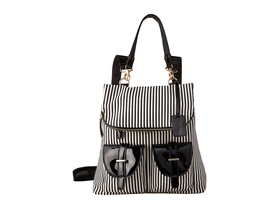 Gabriella Rocha - Tonia Striped Backpack with Pockets (Black/White) Backpack Bags