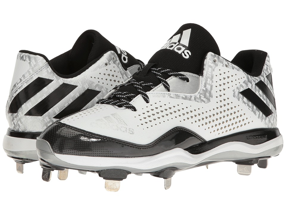 adidas - PowerAlley 4 (White/Black) Men's Cleated Shoes