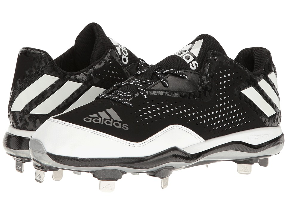 adidas - PowerAlley 4 (Black/White/Silver Metallic) Men's Cleated Shoes
