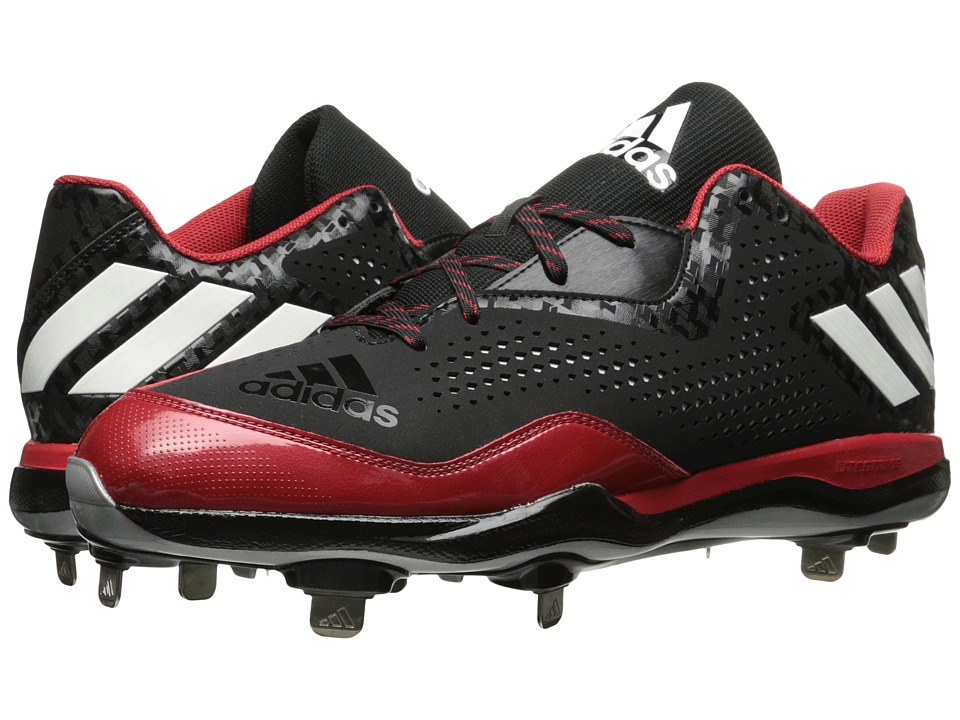 adidas - PowerAlley 4 (Black/White/Power Red) Men's Cleated Shoes