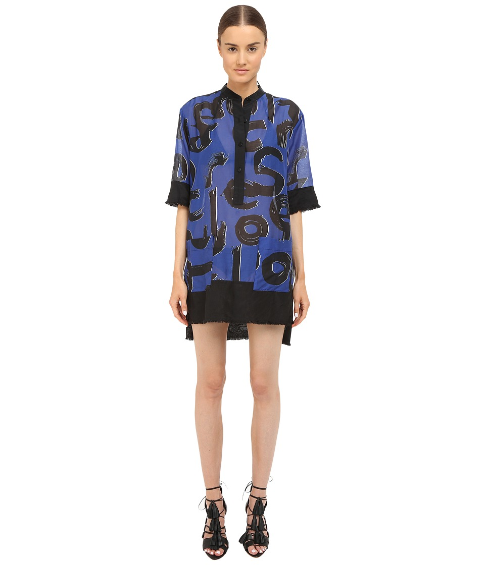 Proenza Schouler - Shirtdress Cover-Up (Cobalt/Black/White) Women's Swimwear
