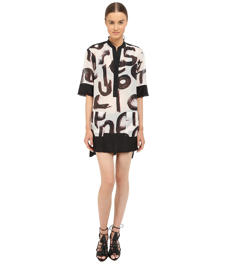 Proenza Schouler - Shirtdress Cover-Up (White/Black/Vermillion) Women's Swimwear