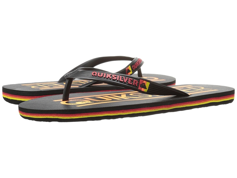 Quiksilver - Molokai Wordmark (Black/Black/Red) Men's Toe Open Shoes