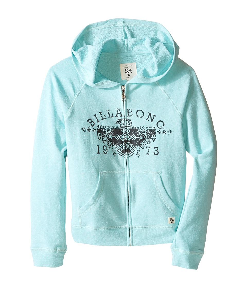 Billabong Kids - Jump Around Zip-Up Hoodie (Little Kids/Big Kids) (Aqua Sea) Girl's Sweater