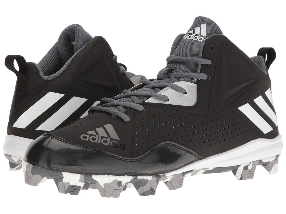 adidas - Wheelhouse 4 Mid (Black/White/Metallic Silver) Men's Cleated Shoes