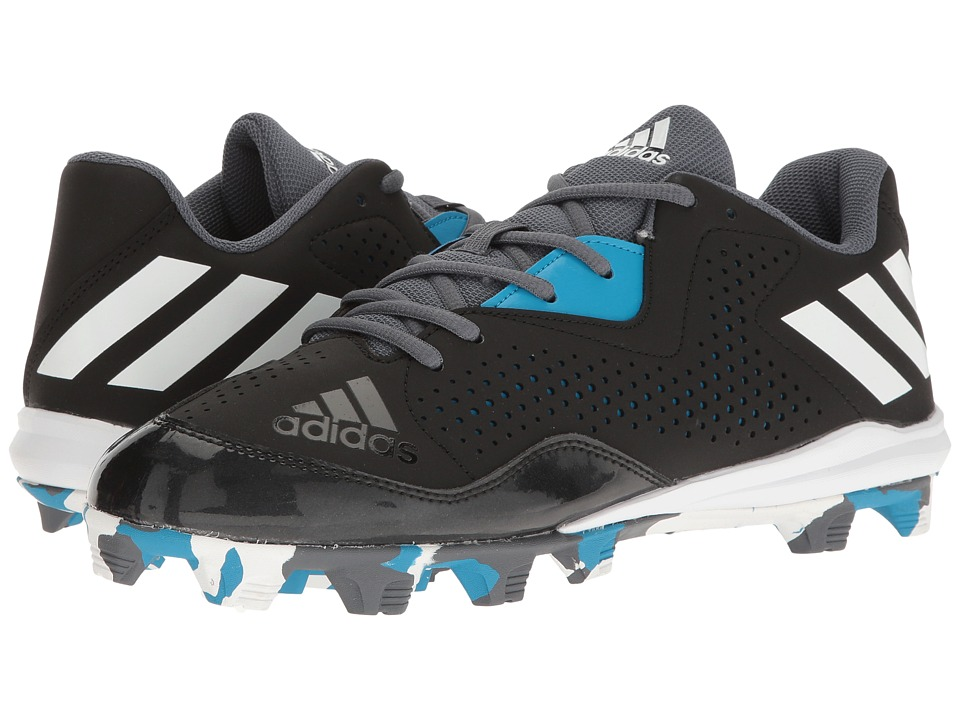 adidas - Wheelhouse 4 (Black/White/Solar Blue) Men's Cleated Shoes