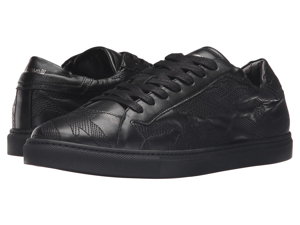 Just Cavalli - Embroidered Nappa Leather Sneakers (Black) Men's Shoes