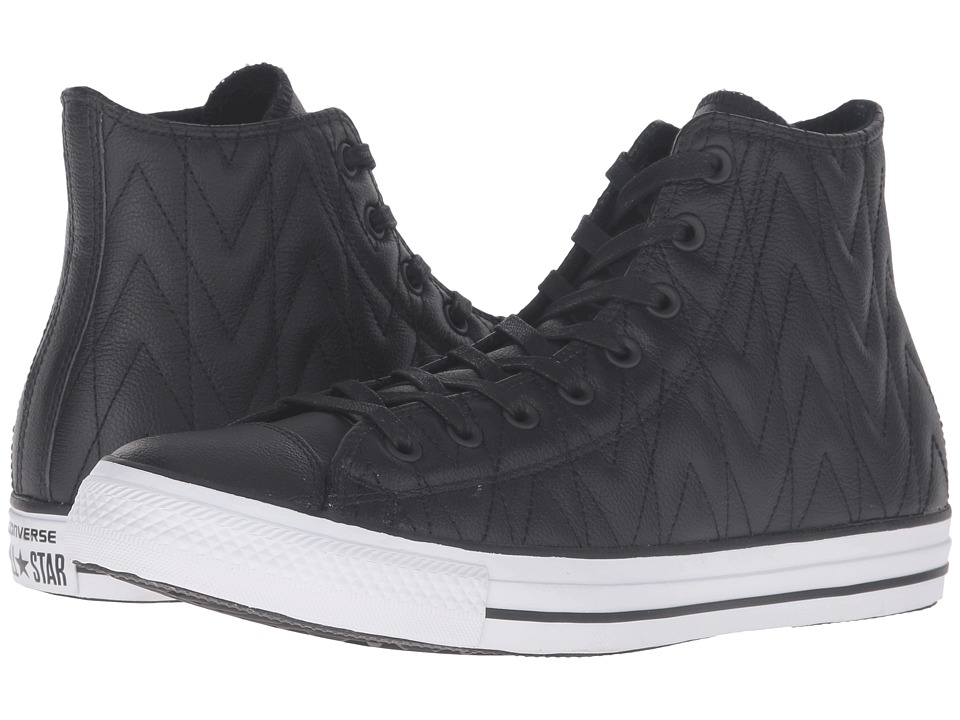 Converse Chuck Taylor All Star Quilted Leather Hi (Black/White/Black) Athletic Shoes