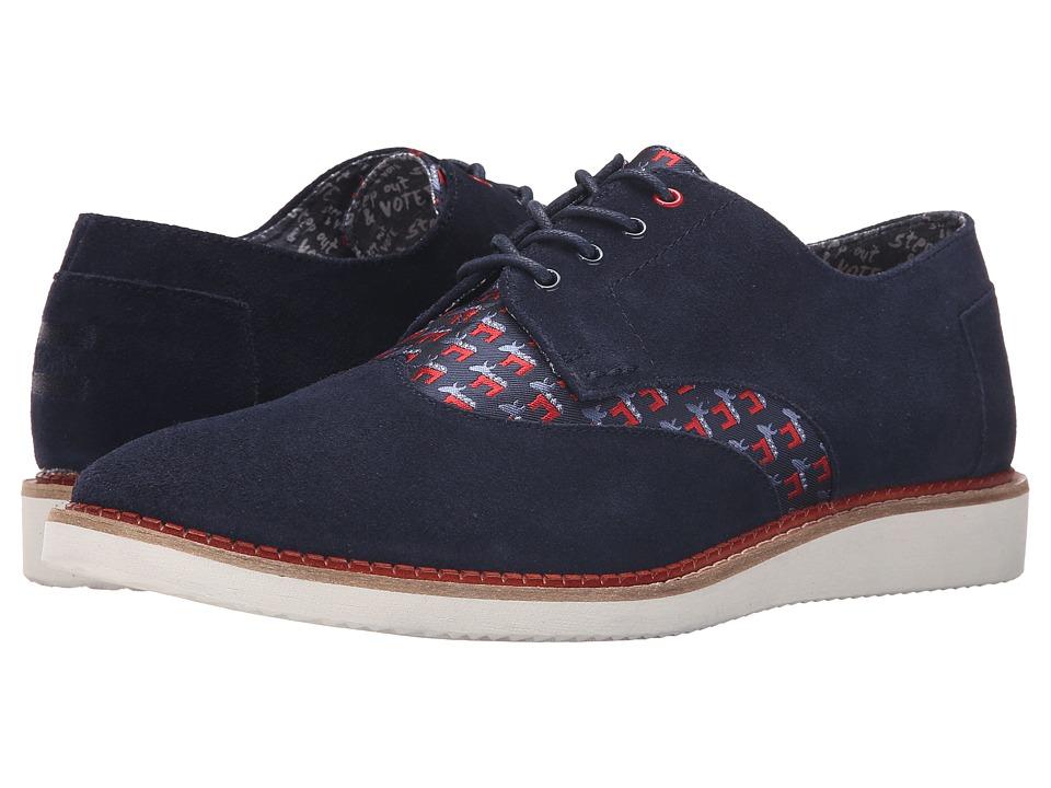 TOMS Brogue Democrat Donkeys Dark Blue Mens Lace up casual Shoes